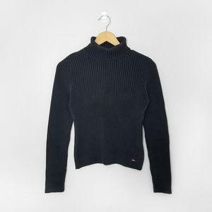 TOMMY HILFIGER Blue Ribbed Y2K Turtleneck Sweater